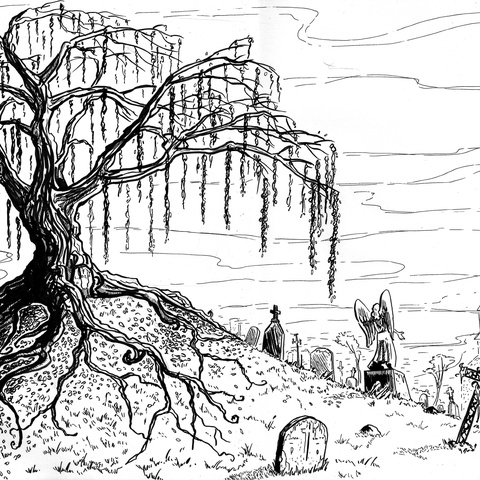 The Old Arkham Burying Ground by Sébastien Abellan